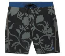 Long-length Printed Swim Shorts - Black