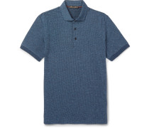Puppytooth Virgin Wool And Cotton-blend Polo Shirt