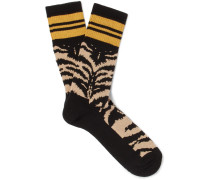 Intarsia Stretch Cotton-blend Socks