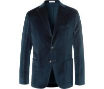 Blue K-jacket Stretch-cotton Velvet Blazer - Blue