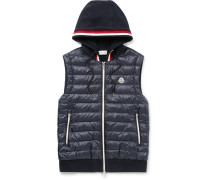 Slim-fit Quilted Shell And Loopback Cotton-jersey Hooded Gilet