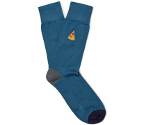 Embroidered Stretch Cotton-blend Socks