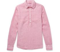 Garment-dyed Linen Half-placket Shirt