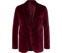 Burgundy Butterfly Slim-fit Unstructured Cotton-velvet Tuxedo Jacket