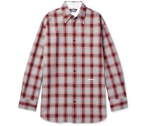 Oversized Checked Flannel Shirt - Red