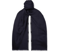 Logo-embroidered Cashmere And Silk-blend Jacquard Scarf - Midnight blue