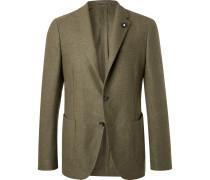 Green Slim-fit Unstructured Wool Blazer - Green