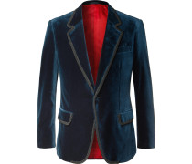 Rocketman Navy Slim-Fit Cotton-Velvet Tuxedo Jacket
