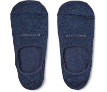 Invisible Touch Mélange Pima Cotton-blend No-show Socks - Blue