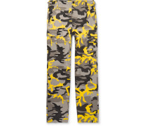Slim-fit Camouflage-print Cotton-twill Cargo Trousers - Yellow