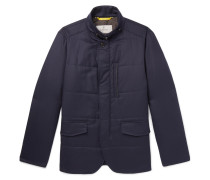 Leather-trimmed Quilted Wool-flannel Jacket