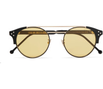 Round-frame Acetate And Two-tone Metal Sunglasses