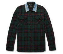 Oversized Denim-trimmed Checked Wool And Cotton-blend Shirt