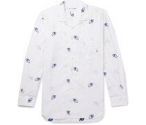 Camp-collar Printed Cotton-poplin Shirt - White