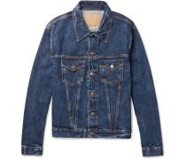 Slim-fit Distressed Denim Trucker Jacket