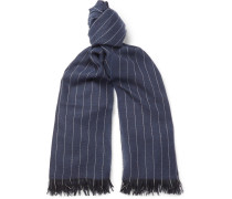 Pinstriped Fringed Cashmere Scarf