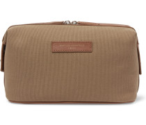 Kenyatta Leather-trimmed Organic Cotton-canvas Wash Bag - Tan