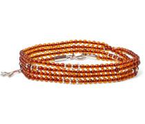 Silver And Amber Beaded Wrap Bracelet - Orange
