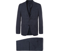 Navy Milano Easy Slim-fit Prince Of Wales Checked Wool And Silk-blend Suit - Navy