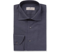 Herringbone Cotton Shirt - Navy