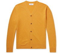 Santo Slim-fit Merino Wool And Cashmere-blend Cardigan - Mustard