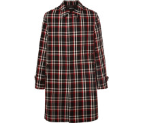 Reflective-trimmed Checked Wool Coat - Black