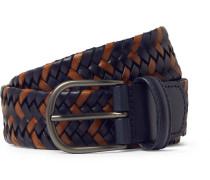 3.5cm Navy Woven Leather Belt - Navy
