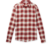 Distressed Checked Cotton-flannel Shirt - Red