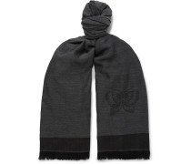 Wool, Cashmere And Silk-blend Scarf - Black