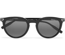 Panthos Round-frame Acetate Sunglasses - Black