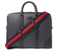 Leather-trimmed Monogrammed Coated-canvas Briefcase - Black