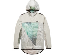 Canvas-trimmed Printed Nylon-ripstop Hooded Jacket - Ecru