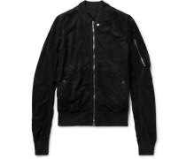 Raglan Slim-fit Blistered-suede Bomber Jacket