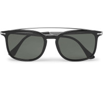 Square-frame Acetate And Silver-tone Sunglasses - Black