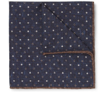 Reversible Printed Silk And Cotton-blend Pocket Square - Navy