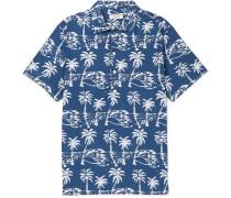 Indigo-dyed Printed Cotton Half-placket Shirt