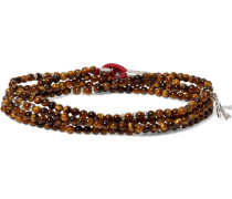 Saracino Tiger's Eye And Sterling Silver Beaded Wrap Bracelet