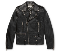 Slim-fit Textured-leather Biker Jacket - Black
