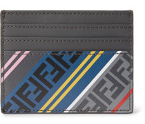 Logo-print Leather Cardholder - Gray