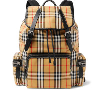 Leather-trimmed Checked Canvas Backpack