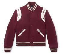 Leather-trimmed Virgin Wool-blend Bomber Jacket - Burgundy