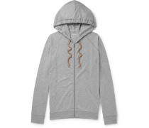 Slim-fit Cotton-jersey Zip-up Hoodie - Gray