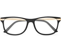 Square-frame Acetate And Gold-tone Optical Glasses - Black