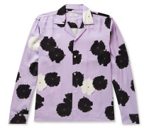 Marco Camp-Collar Floral-Print Lyocell Shirt