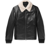 Slim-Fit Shearling-Trimmed Leather and Wool-Blend Bomber Jacket