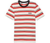 Logo-Appliquéd Striped Cotton-Jersey T-Shirt