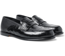 Collapsible-heel Croc-effect And Full-grain Leather Penny Loafers - Black