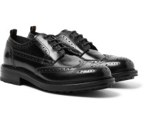 Country Leather Wingtip Brogues - Black