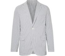 Blue Slim-Fit Unstructured Striped Seersucker Blazer