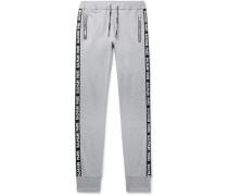 Slim-Fit Tapered Logo-Jacquard Loopback Cotton-Blend Jersey Sweatpants